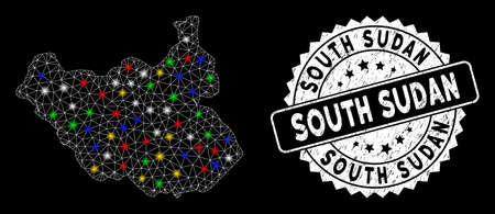 Bright mesh South Sudan map with glare effect, and seal stamp. Wire frame triangular South Sudan map mesh in vector format on a black background. White round seal stamp with dirty surface.