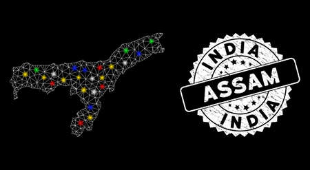 Bright mesh Assam State map with glow effect, and rubber print. Wire frame polygonal Assam State map mesh in vector format on a black background. White round seal stamp with corroded textures.