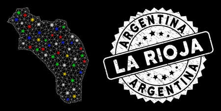 Bright mesh La Rioja of Argentina map with glare effect, and watermark. Wire frame polygonal La Rioja of Argentina map mesh in vector format on a black background. White round seal with dirty surface.