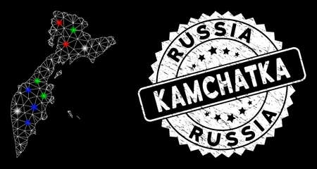 Bright mesh Kamchatka map with glow effect, and rubber print. Wire frame polygonal Kamchatka map network in vector format on a black background. White round rubber stamp with scratched surface. Illusztráció