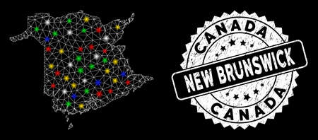 Bright mesh New Brunswick Province map with glare effect, and seal stamp. Wire frame triangular New Brunswick Province map mesh in vector format on a black background.