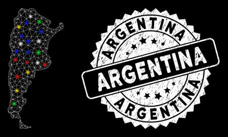 Bright mesh Argentina map with lightspot effect, and seal stamp. Wire carcass polygonal Argentina map mesh in vector format on a black background. White round rubber seal with grunge texture.