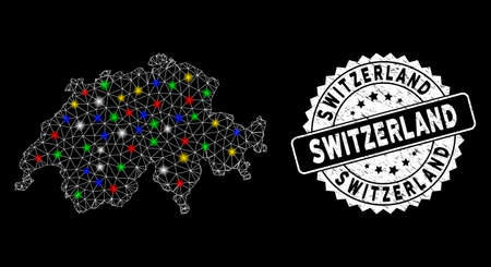 Bright mesh Switzerland map with glare effect, and rubber print. Wire carcass triangular Switzerland map mesh in vector format on a black background. White round rubber seal with rubber surface.