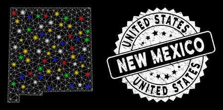 Bright mesh New Mexico State map with lightspot effect, and watermark. Wire frame polygonal New Mexico State map network in vector format on a black background.