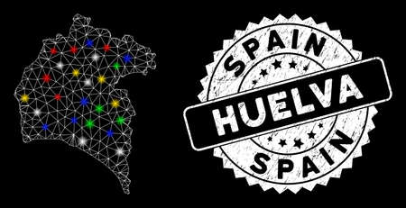 Bright mesh Huelva Province map with glare effect, and seal stamp. Wire frame triangular Huelva Province map mesh in vector format on a black background. Illusztráció