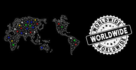 Bright mesh worldwide map with lightspot effect, and seal. Wire carcass triangular worldwide map mesh in vector format on a black background. White round seal stamp with grunged texture.