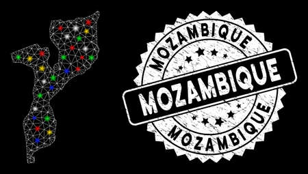 Bright mesh Mozambique map with glow effect, and seal. Wire carcass triangular Mozambique map network in vector format on a black background. White round seal stamp with grunged textures. Illusztráció