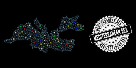 Bright mesh Mediterranean Sea map with lightspot effect, and rubber print. Wire carcass triangular Mediterranean Sea map mesh in vector format on a black background.