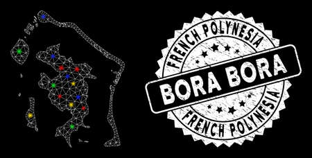 Bright mesh Bora-Bora map with glow effect, and seal. Wire carcass polygonal Bora-Bora map mesh in vector format on a black background. White round stamp imprint with scratched textures.