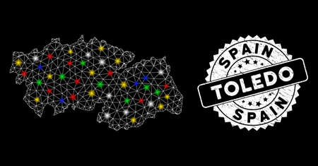 Bright mesh Toledo Province map with lightspot effect, and rubber print. Wire frame triangular Toledo Province map mesh in vector format on a black background. White round stamp with distress surface. Illusztráció