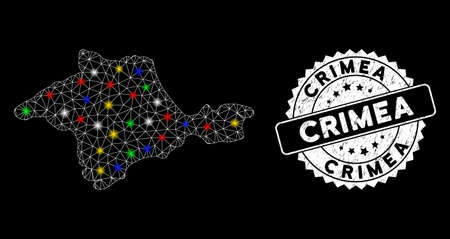 Bright mesh Crimea map with glare effect, and seal stamp. Wire frame polygonal Crimea map mesh in vector format on a black background. White round rubber seal with grunged texture. Illusztráció