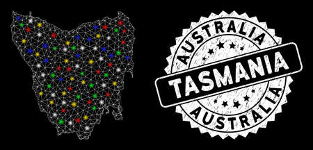 Bright mesh Tasmania Island map with glare effect, and seal. Wire frame triangular Tasmania Island map mesh in vector format on a black background. White round rubber seal with grunge textures.