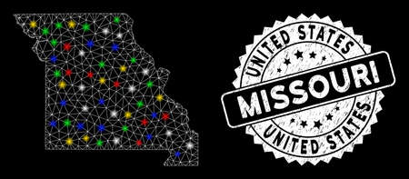 Bright mesh Missouri State map with glare effect, and seal stamp. Wire frame polygonal Missouri State map mesh in vector format on a black background. White round stamp with grunged textures.
