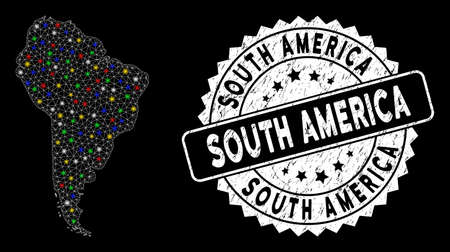 Bright mesh South America map with glare effect, and seal. Wire carcass polygonal South America map network in vector format on a black background. White round rubber seal with rubber textures.