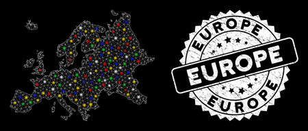 Bright mesh Europe map with glare effect, and seal. Wire frame triangular Europe map mesh in vector format on a black background. White round watermark with distress texture.