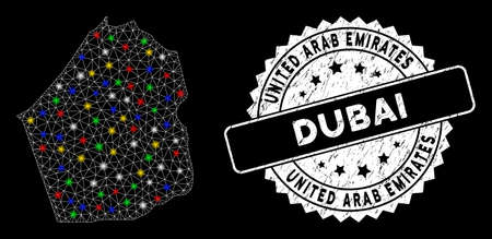 Bright mesh Dubai Emirate map with glare effect, and seal stamp. Wire carcass triangular Dubai Emirate map mesh in vector format on a black background. White round seal stamp with dirty texture.