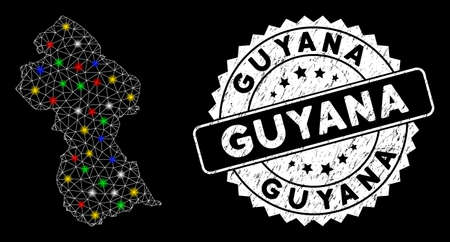 Bright mesh Guyana map with glare effect, and stamp. Wire carcass triangular Guyana map mesh in vector format on a black background. White round rubber stamp with scratched surface.