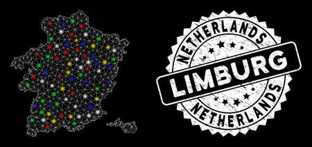 Bright mesh Limburg Province map with glare effect, and stamp. Wire carcass triangular Limburg Province map mesh in vector format on a black background. White round stamp with grunge surface.