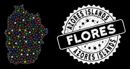 Bright mesh Flores Island of Azores map with lightspot effect, and seal. Wire frame polygonal Flores Island of Azores map network in vector format on a black background. Illusztráció