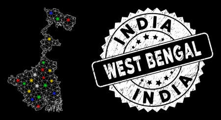 Bright mesh West Bengal State map with lightspot effect, and stamp. Wire carcass polygonal West Bengal State map network in vector format on a black background.