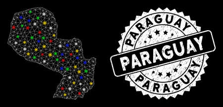 Bright mesh Paraguay map with glare effect, and stamp. Wire carcass triangular Paraguay map mesh in vector format on a black background. White round watermark with corroded surface.