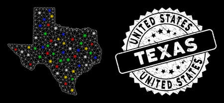 Bright mesh Texas map with glare effect, and seal stamp. Wire frame triangular Texas map mesh in vector format on a black background. White round rubber seal with rubber surface. Vektoros illusztráció