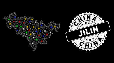 Bright mesh Jilin Province map with glow effect, and watermark. Wire frame triangular Jilin Province map mesh in vector format on a black background. White round watermark with scratched texture.