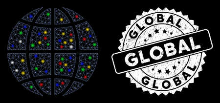 Bright mesh planet global with glare effect, and seal stamp. Wire frame triangular planet global mesh in vector format on a black background. White round seal with grunge surface. Illusztráció