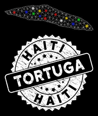 Bright mesh Tortuga Island of Haiti map with lightspot effect, and stamp. Wire carcass polygonal Tortuga Island of Haiti map mesh in vector format on a black background. Illusztráció