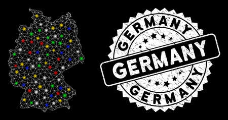 Bright mesh Germany map with glare effect, and seal stamp. Wire carcass polygonal Germany map mesh in vector format on a black background. White round rubber stamp with dirty textures.