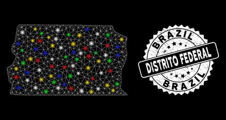 Bright mesh Brazil Distrito Federal map with glare effect, and stamp. Wire frame triangular Brazil Distrito Federal map mesh in vector format on a black background. 向量圖像