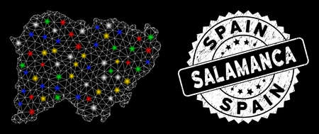 Bright mesh Salamanca Province map with glare effect, and stamp. Wire carcass polygonal Salamanca Province map mesh in vector format on a black background.