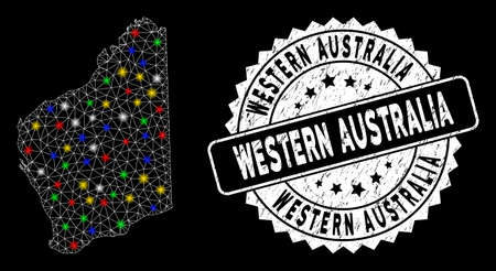 Bright mesh Western Australia map with glare effect, and rubber print. Wire frame triangular Western Australia map mesh in vector format on a black background.