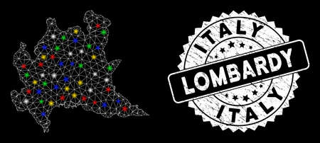 Bright mesh Lombardy region map with lightspot effect, and seal. Wire frame polygonal Lombardy region map mesh in vector format on a black background. White round seal with scratched surface.