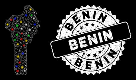Bright mesh Benin map with lightspot effect, and stamp. Wire carcass polygonal Benin map mesh in vector format on a black background. White round rubber stamp with rubber textures.