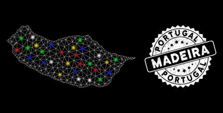 Bright mesh Portugal Madeira Island map with glare effect, and seal stamp. Wire carcass polygonal Portugal Madeira Island map mesh in vector format on a black background.