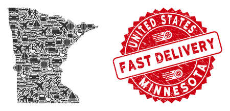 Shipping collage Minnesota State map and corroded stamp watermark with FAST DELIVERY phrase. Minnesota State map collage designed with grey randomized delivery icons.