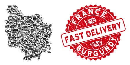 Delivery collage Burgundy Province map and grunge stamp seal with FAST DELIVERY message. Burgundy Province map collage created with grey scattered transportation items.