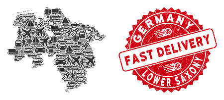 Shipment collage Lower Saxony Land map and rubber stamp watermark with FAST DELIVERY phrase. Lower Saxony Land map collage created with gray random shipping elements.