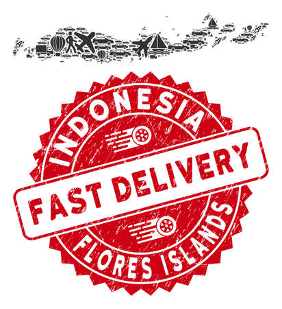 Deliver collage Flores Islands of Indonesia map and corroded stamp seal with FAST DELIVERY text. Flores Islands of Indonesia map collage created with grey random shipment items.