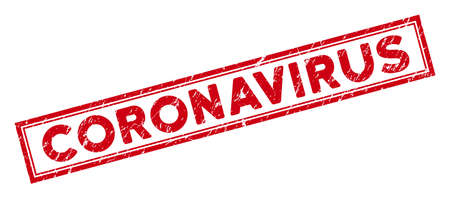 Coronavirus rectangle framed seal stamp. Red vector rectangular grunge watermark with Coronavirus caption inside rectangle double contour. Useful for rubber imitations with grunge rubber texture.