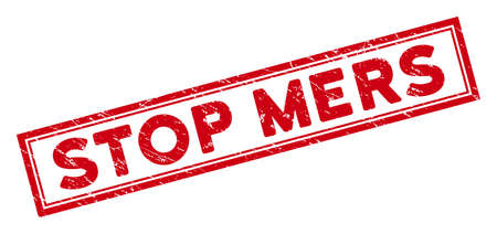 Stop Mers rectangular framed seal stamp. Red vector rectangle scratched stamp imprint with Stop Mers phrase inside rectangular double border. Useful for imprints with scratched rubber surface.