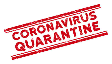 Coronavirus Quarantine seal. Red vector textured stamp with Coronavirus Quarantine caption between double parallel lines. Designed for rubber imitations with distress rubber texture.