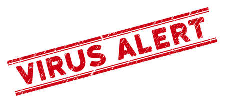 Virus Alert stamp seal. Red vector textured seal with Virus Alert title between double parallel lines. Useful for rubber imitations with corroded rubber surface. Ilustração