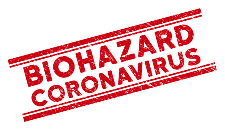 Biohazard Coronavirus seal stamp. Red vector distress seal stamp with Biohazard Coronavirus title between double parallel lines. Designed for rubber imitations with dirty rubber style.