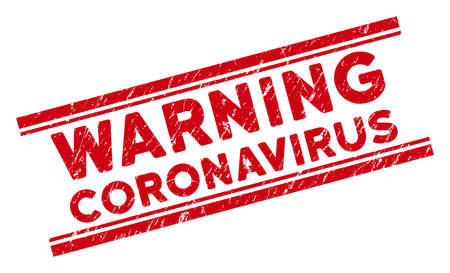 Warning Coronavirus stamp seal. Red vector distress seal stamp with Warning Coronavirus phrase between double parallel lines. Designed for imprints with corroded rubber surface.