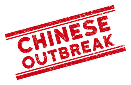 Chinese Outbreak stamp seal. Red vector scratched seal stamp with Chinese Outbreak text between double parallel lines. Designed for rubber imitations with dirty rubber surface.
