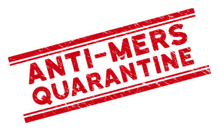 Anti-Mers Quarantine seal stamp. Red vector distress seal with Anti-Mers Quarantine caption between double parallel lines. Useful for rubber imitations with unclean rubber surface. Ilustração