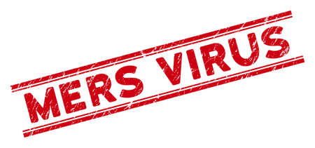 Mers Virus stamp seal. Red vector distress stamp with Mers Virus caption between double parallel lines. Useful for rubber imitations with grunge rubber style.