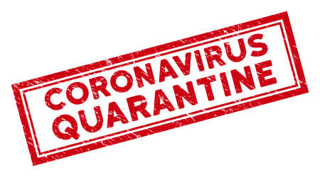 Coronavirus Quarantine rectangle framed seal stamp. Red vector rectangle textured seal stamp with Coronavirus Quarantine text inside rectangle double contour.